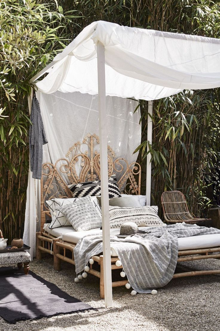 Outdoor Seating with Canopy in 2020 Wooden canopy bed