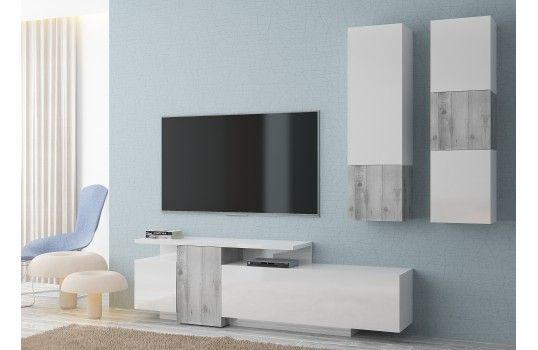Meuble Tv Mural Design Alexia Blanc Brillant Et Effet Beton Gris