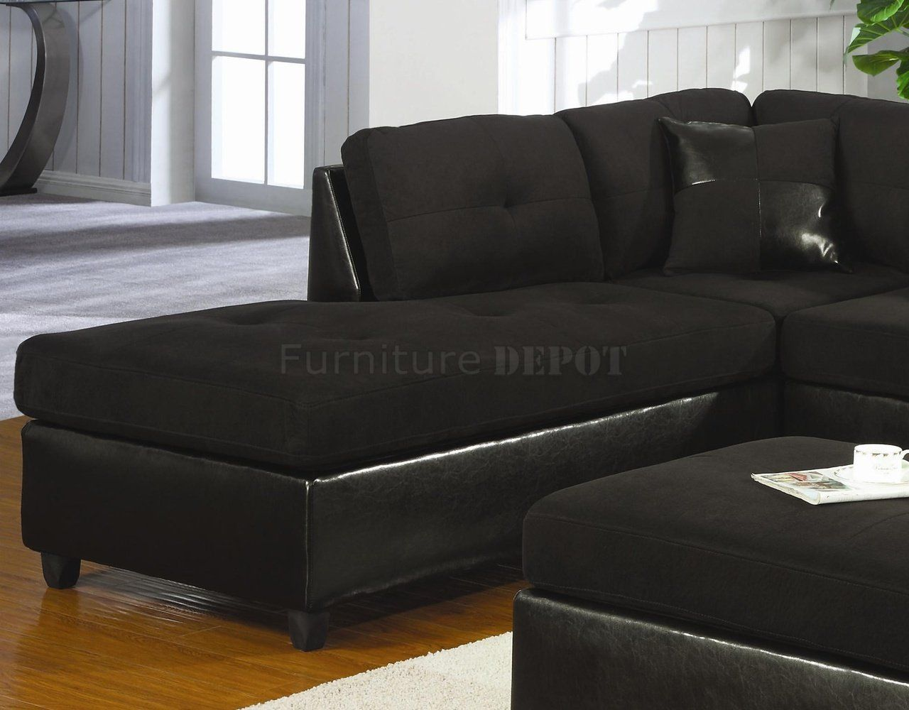 Black Microsuede Couch Microfiber Faux Leather Contemporary Sectional Sofa 500735 Black