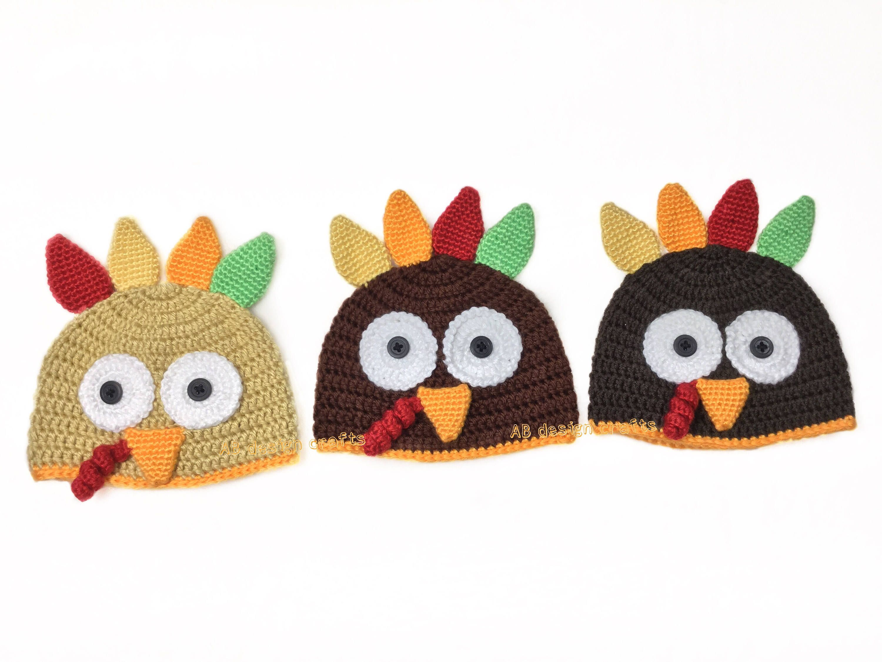Baby boy girl costume Turkey hat Crochet baby outfit Thanksgiving ... f9e462acd43c