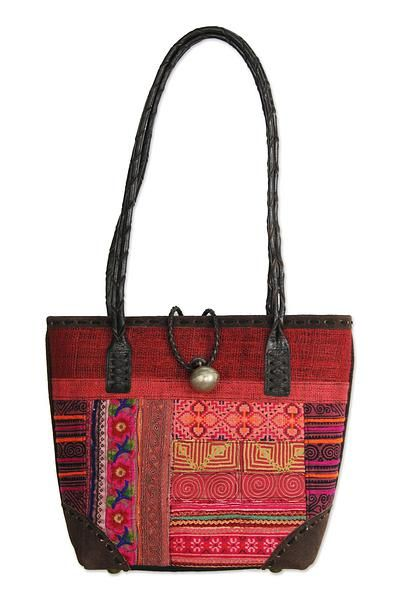 Novica Cotton shoulder bag, Hill Tribe Kaleidoscope - Hand Made Floral Cotton Shoulder Bag