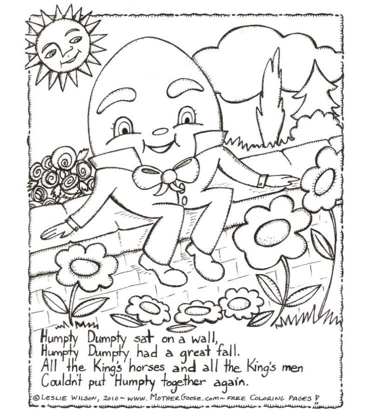 humpty dumpty coloring page 2012 daycare ideas come to life