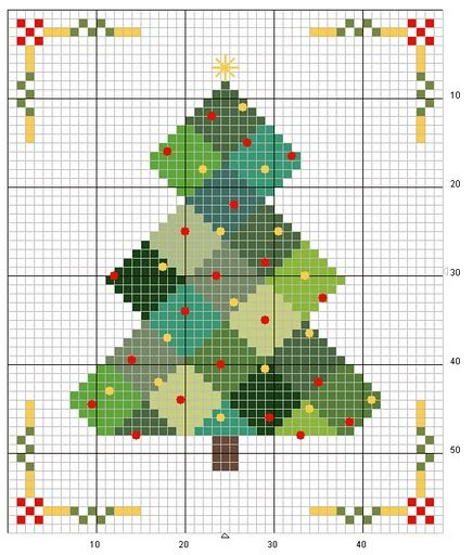 Cross stitch-Quilt tree  Could be really cute for cards or gift tags.
