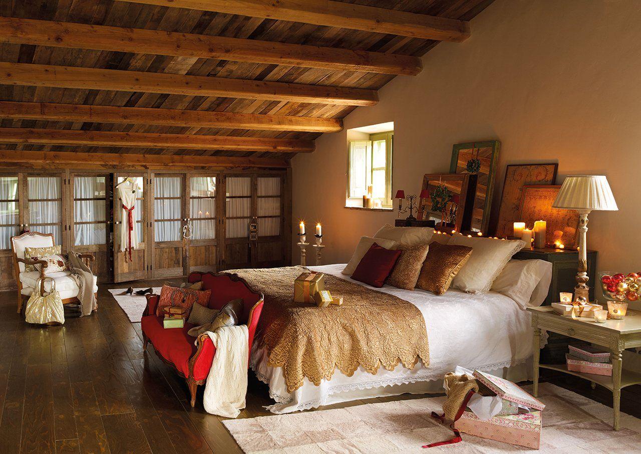 Dormitorio principal en casa r stica con decoraci n - Decoracion navidena rustica ...