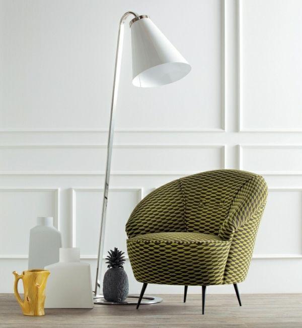 grüner Sessel-weiße Lampe-moderne Wohnzimmer Möbel Inspiration - lampe wohnzimmer design