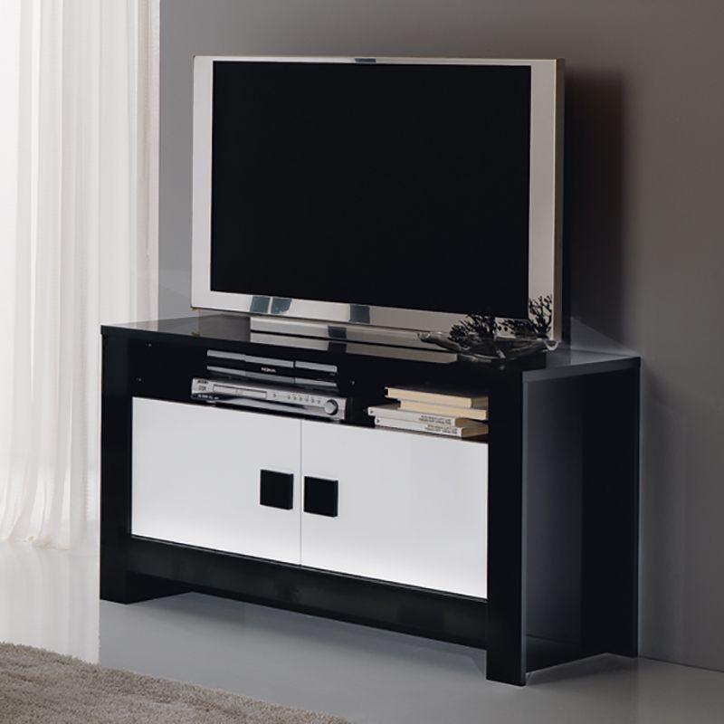 Meuble tv noir et blanc laqu design siera meuble tv flat screen et design - Meuble tv gain de place ...