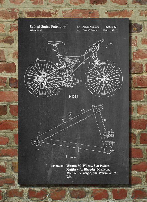 Mountain Bike Patent Art, Trek Bike, Bike Art, Bike Poster