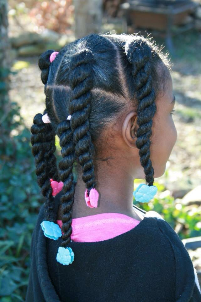 Perfect Pigtails And Twists Using Hot Pink And Turquoise
