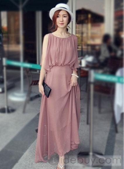 bc11eaee6563 Casual Korean Style Bohemian Sleeveless Chiffon Maxi Dress in 2019 ...