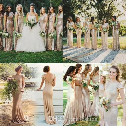 2ef8fe29f71 Cheap Mermaid Bridesmaid Dresses 2016 Sparkly Rose Gold Short Sleeve  Sequins Backless Long Beach Wedding Party