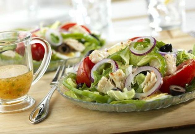 This satisfying salad makes a tasty lunch or light dinner option. Canned chicken and prepared salad dressing makes it easy and the combination of flavorful ingredients makes it delicious. satisfying salad makes a tasty lunch or light dinner option. Canned chicken and prepared salad dressing makes it easy and the combination of flavorful ingredients makes it delicious.