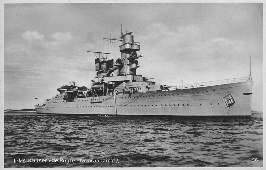 Dutch light cruiser De Ruyter. Launched 1935 and commissioned 1936. She was sunk 27 February 1942 in the Battle of Java Sea, by a torpedo launched from the Japanese heavy cruiser Haguro