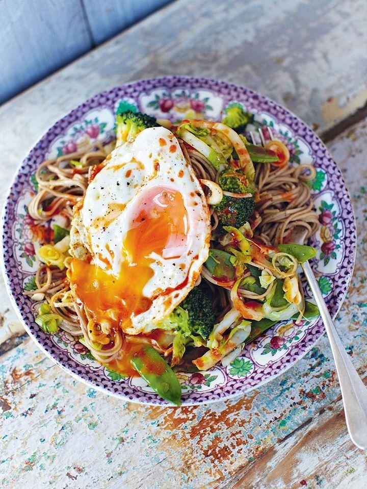 Hungover noodles Crunchy veg, egg noodles & a runny egg  by Jamie Oliver