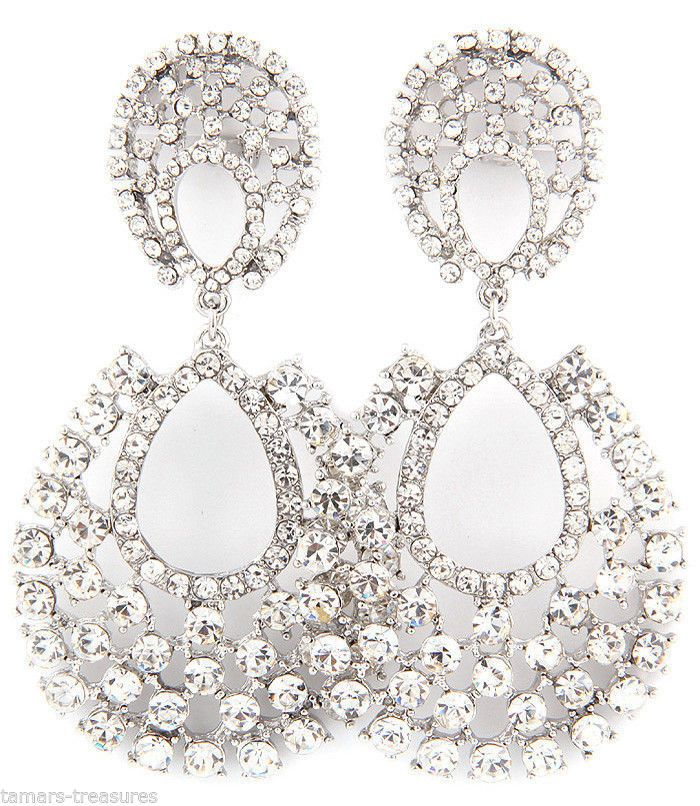 BIG Crystal RHINESTONE Chandelier CLIP ON Earrings 3\