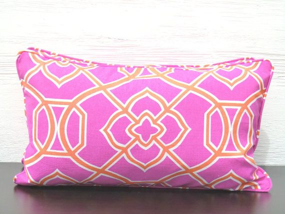 Pink Lumbar Pillow Cover Orange Medallion 21 11 Hot Throw And Small Chair