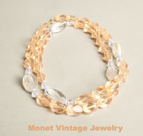MONET Lucite Necklace Translucent Peach Ice Blue Beads Beaded Strands Authentic