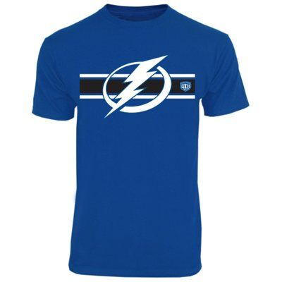 Tampa Bay Lightning Old Time Hockey Striped Logo T Shirt Tampa Bay Lightning Mens Tshirts Mens Tops