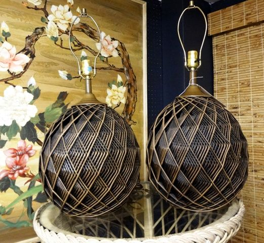 Pair of vintage mid century geometric woven faux rattan table lamps.