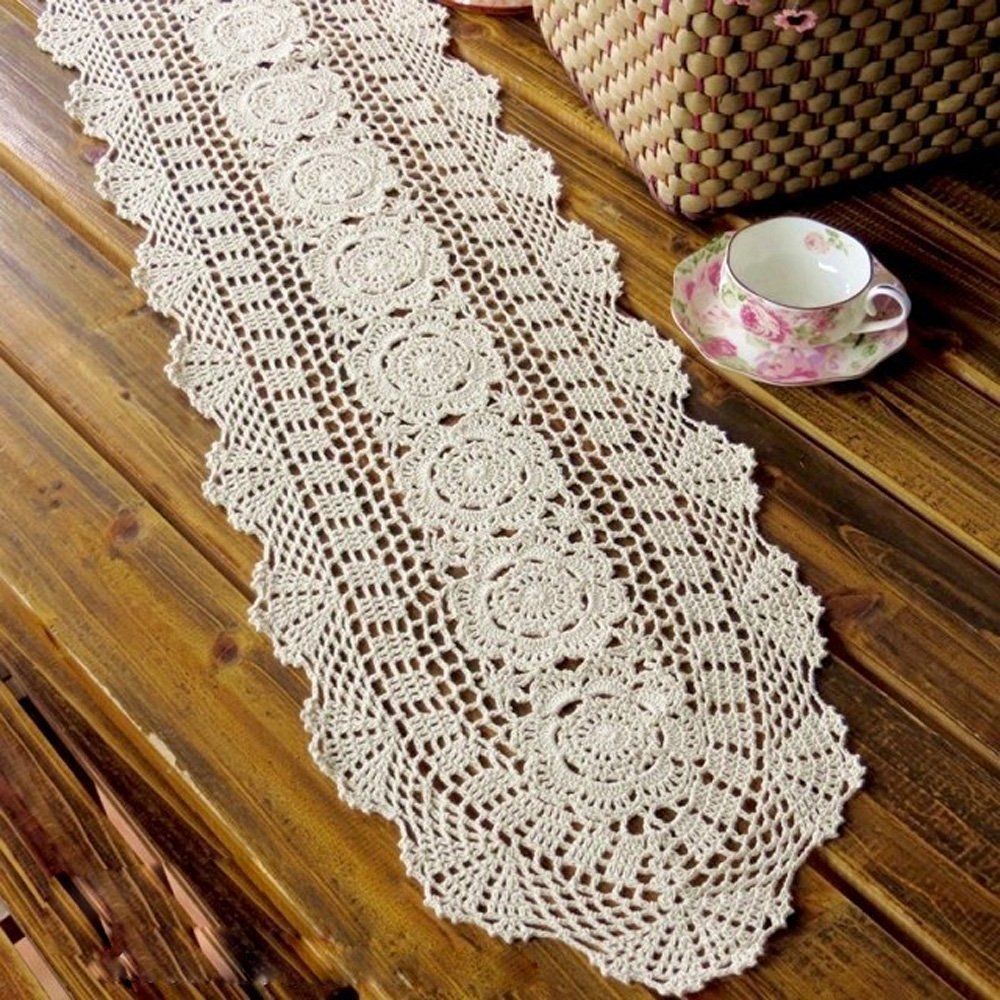 12 X36 Beige Cotton Crochet Lace Table Runner Dresser Scarf Doilies A12