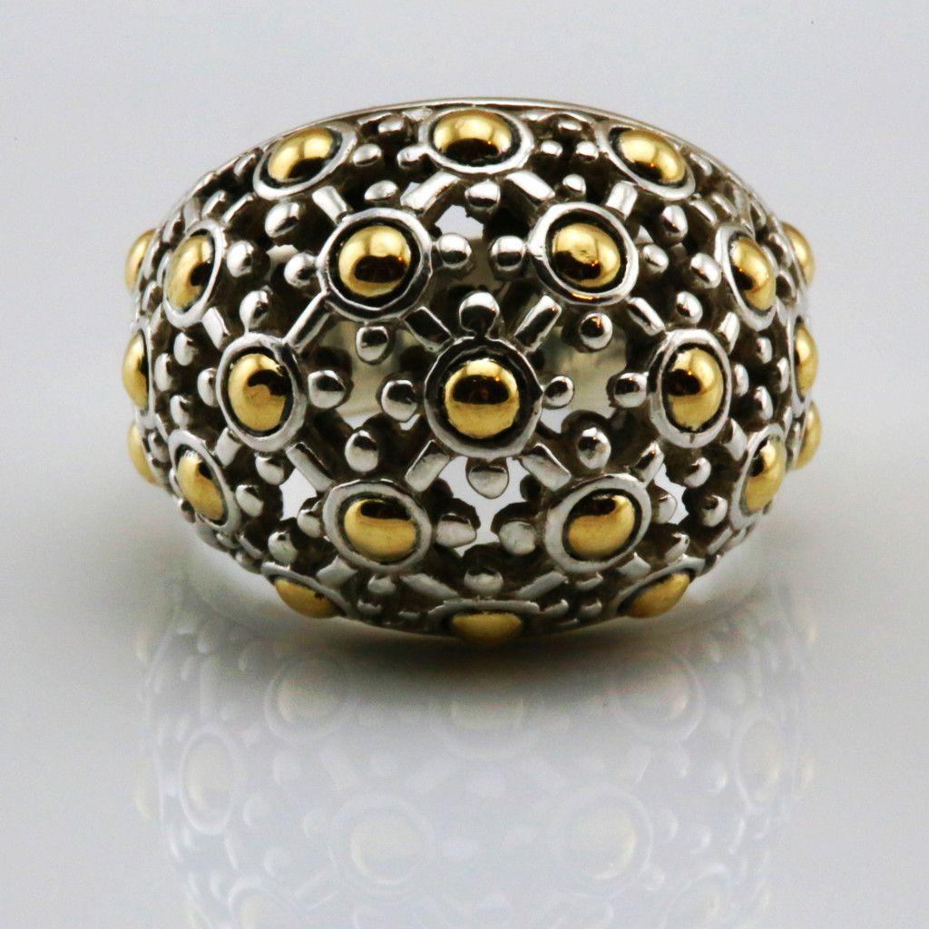 John Hardy Jaisalmer Silver & 18k Gold Dome Ring, Size 7