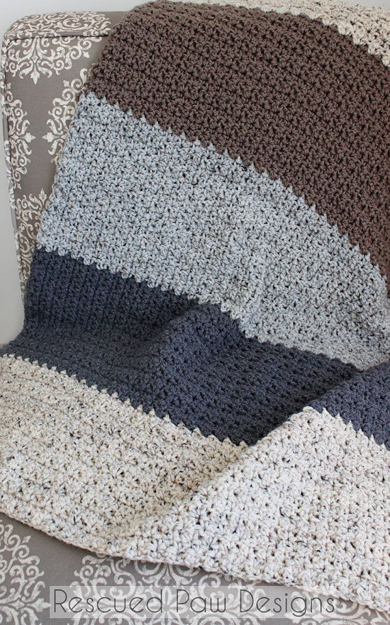 Crochet Pattern Striped Blanket Neutral Modern Color Blocked