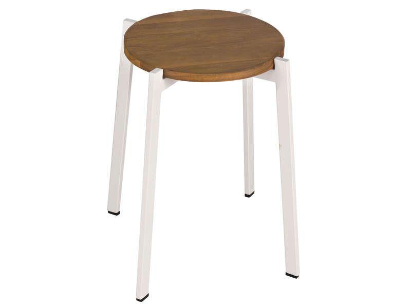 Tabouret de jardin PANAMA coloris blanc - Vente de Chaise de cuisine ...