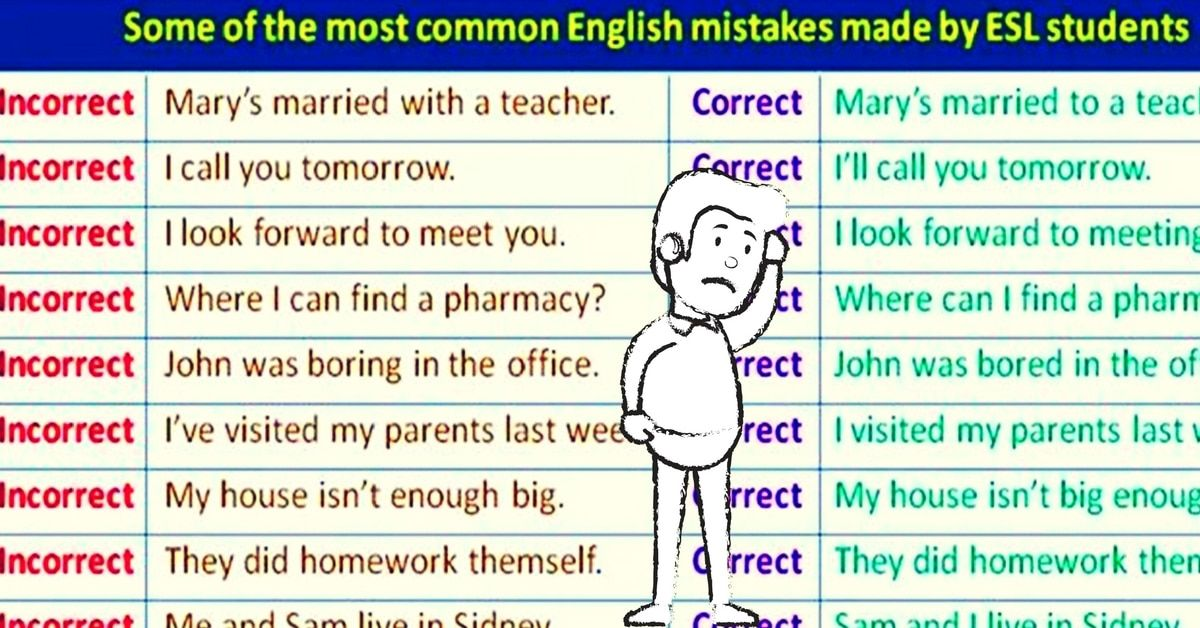 Some Of The Most Common English Mistakes Made By Esl Students Eslbuzz Learning English Learn English English Grammar Common Grammar Mistakes