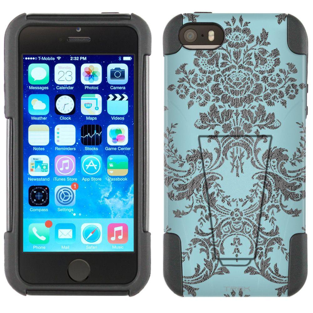 Apple iPhone 5 Hybrid Stand Case - Damasks Grey on Blue