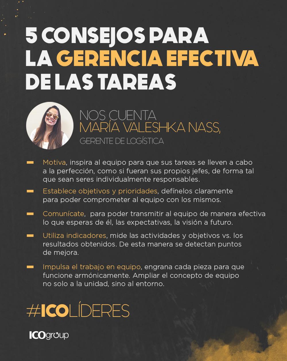 María Valeshka, Gerente de Logística en ICO Group comparte 5 tips ...
