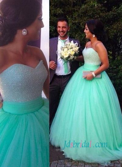 Mint Light Green Colored Sparkly Princess Wedding Ball Gown Dress