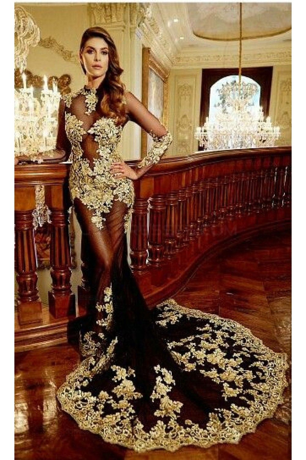 1a37f53f389 Sexy Long Sleeves Gold Lace Appliques Black See Through Prom Dresses Party Evening  Gowns 3020332