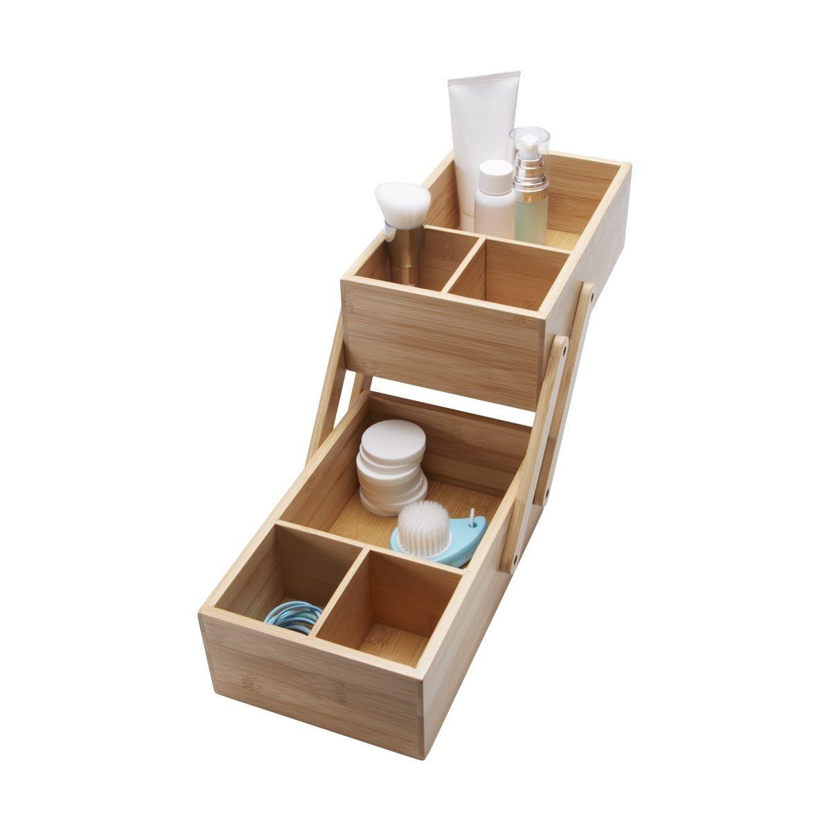 2 Tier Bamboo Organiser Kmartnz 14 Bathroom Shop Cupboard Storage Bathroom Faucets