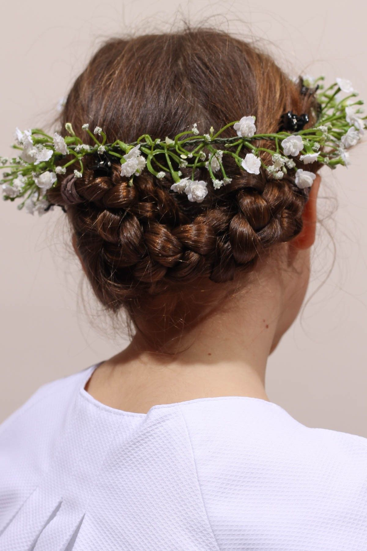 Couronne de fleurs communion ou cortège mariage, couronne