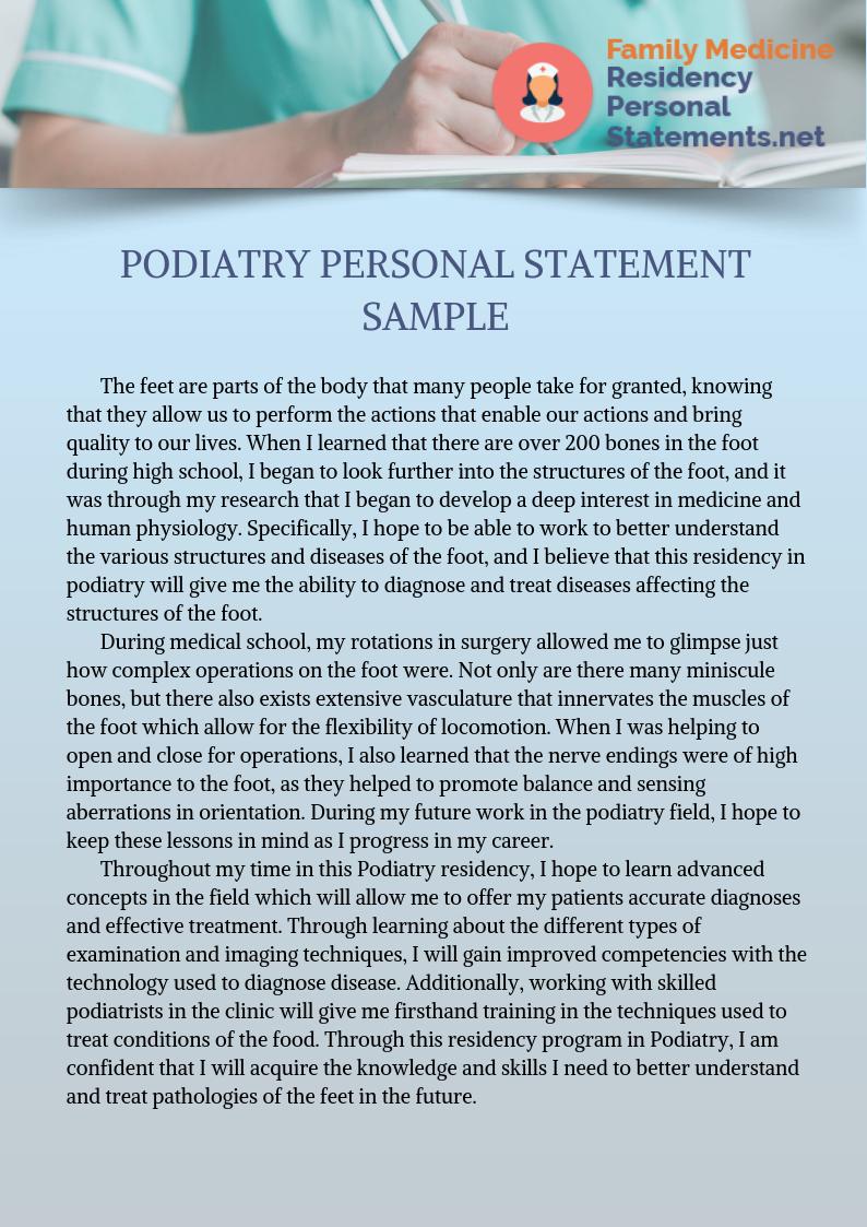 Professional Podiatry Personal Statement Writing Example Neonatology Gi Sample