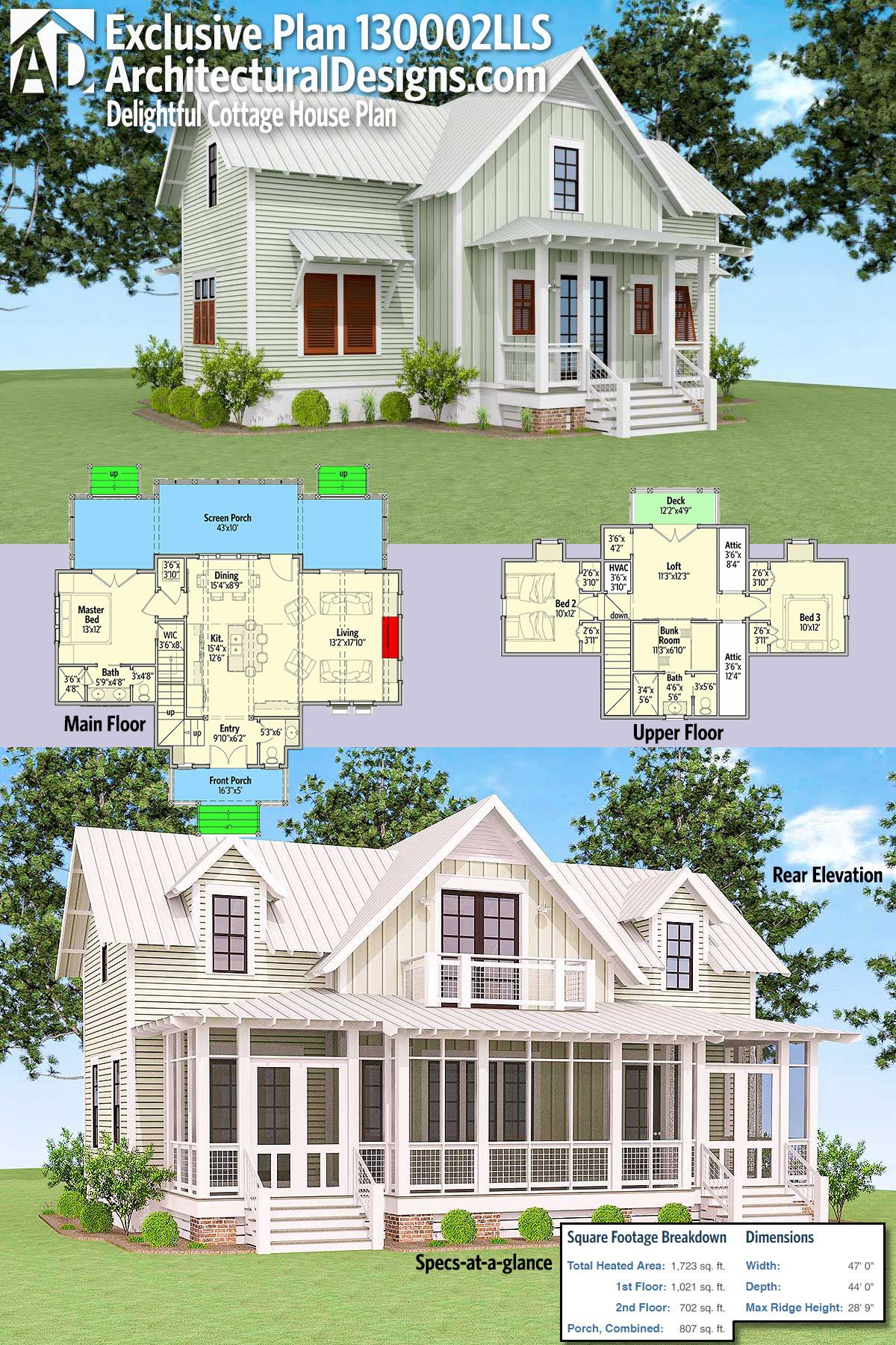 Architectural Designs Exclusive Delightful Cottage House Plan 130002lls Has Large Rear Screened In Country Cottage House Plans Mountain House Plans House Plans