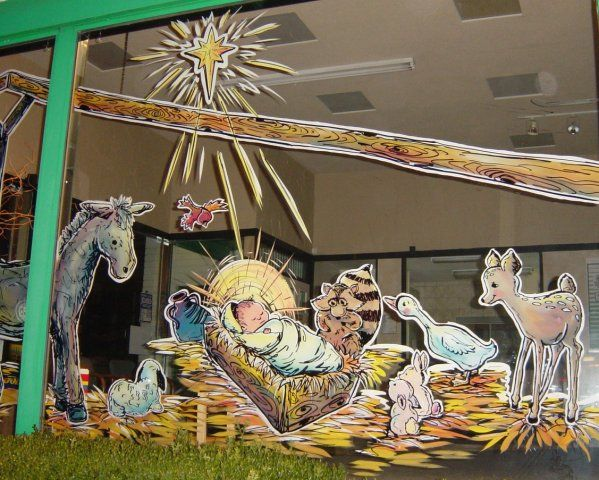 nativity scene window painting | Christmas | Pinterest ...