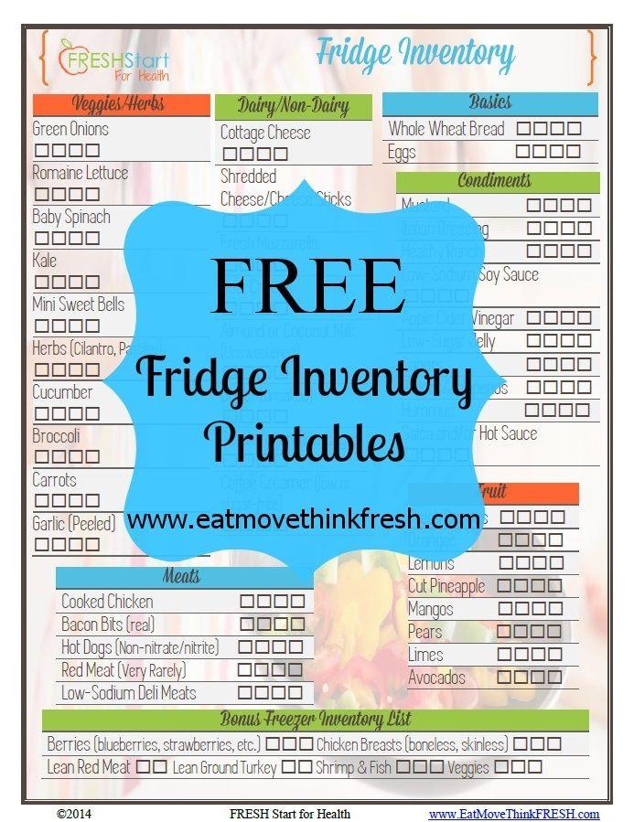 Free Fridge Inventory Printable  Helpful Hints    Free