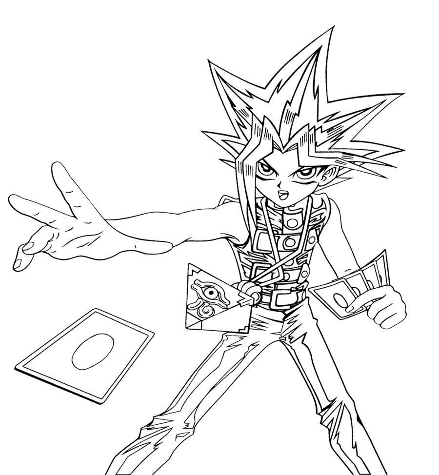 Yu Gi Oh Cards Cast Coloring Page For Kids Coloring Pages For