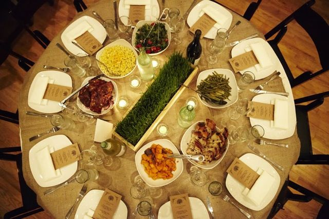 Family Style Dinner At Round Table Find This Pin And More On Deity Brooklyn Wedding Food