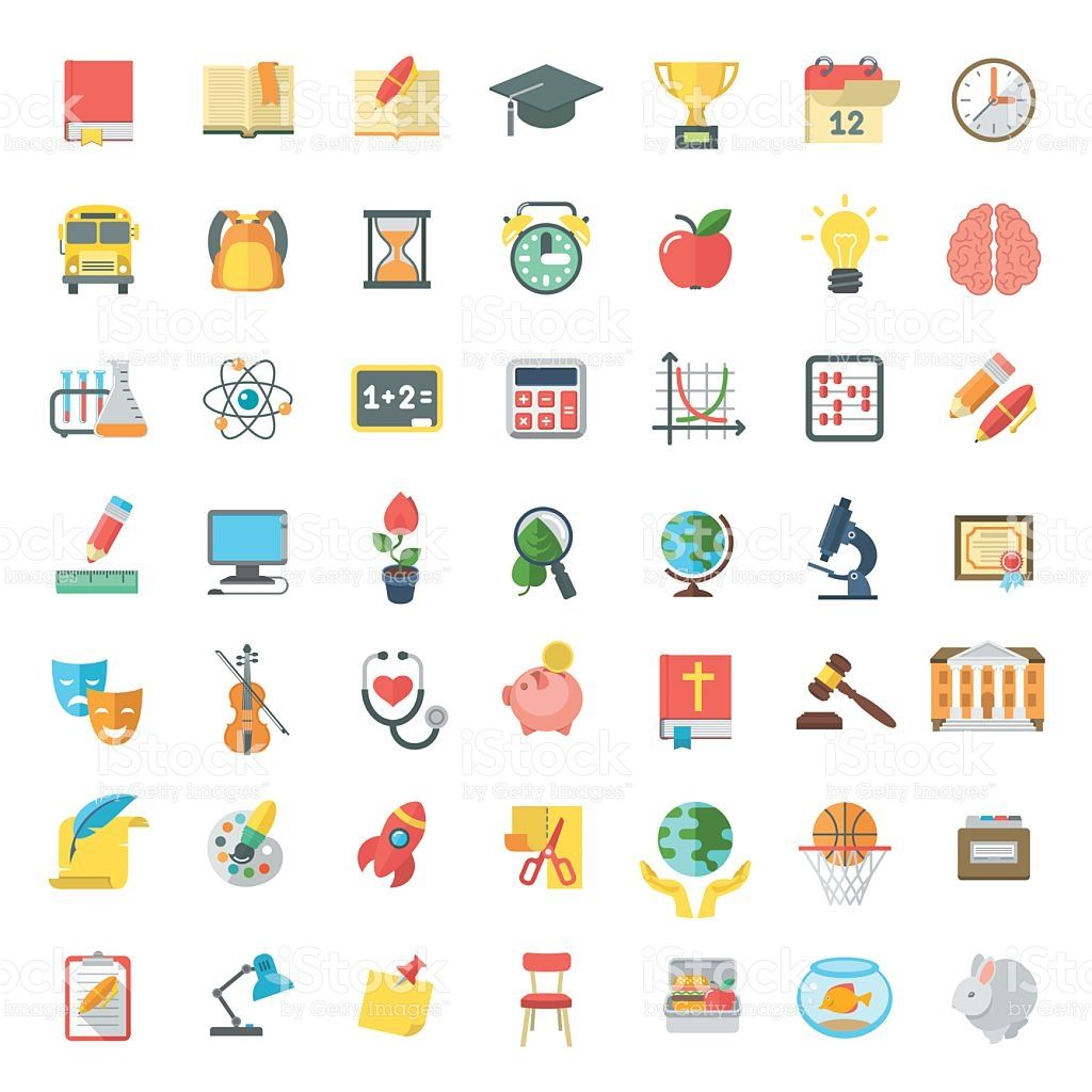 Set of modern flat vector icons of school subjects