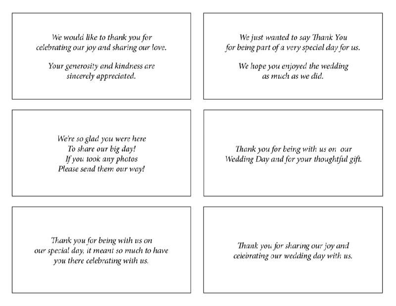 Sample Thank You Cards For Wedding
