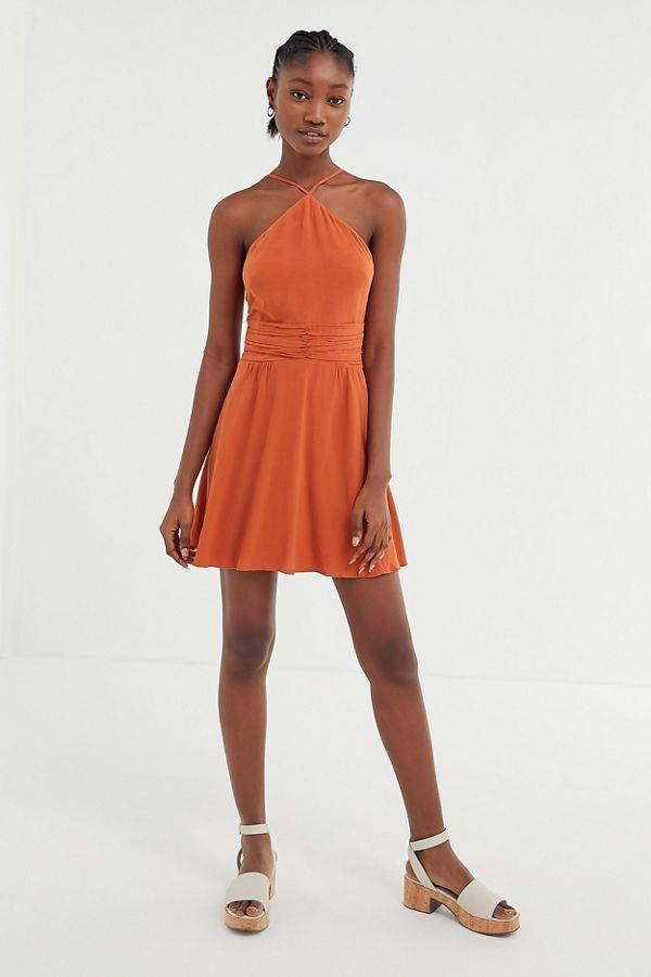 eb52181ca76796 UO Marabella Y-Neck Mini Dress in 2019