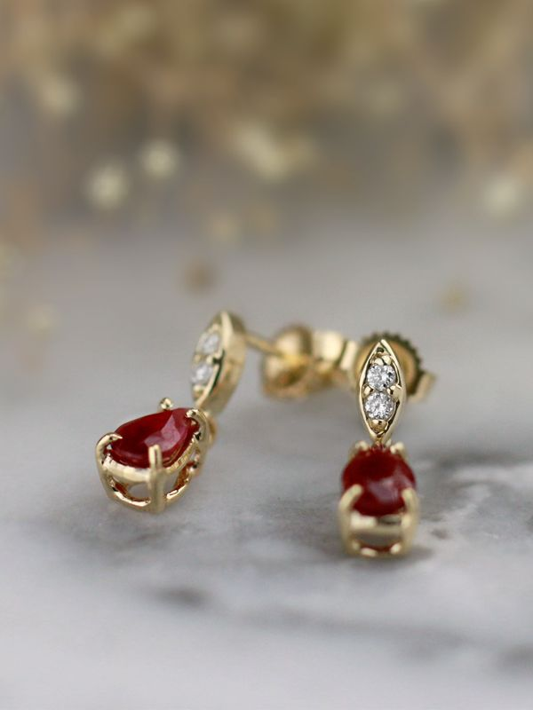 Natural Ruby Marquise Diamond Solid 14 Karat Gold Chandelier Earrings Gold Earrings Designs Gold Chandelier Earrings Sterling Silver Hoop Earrings