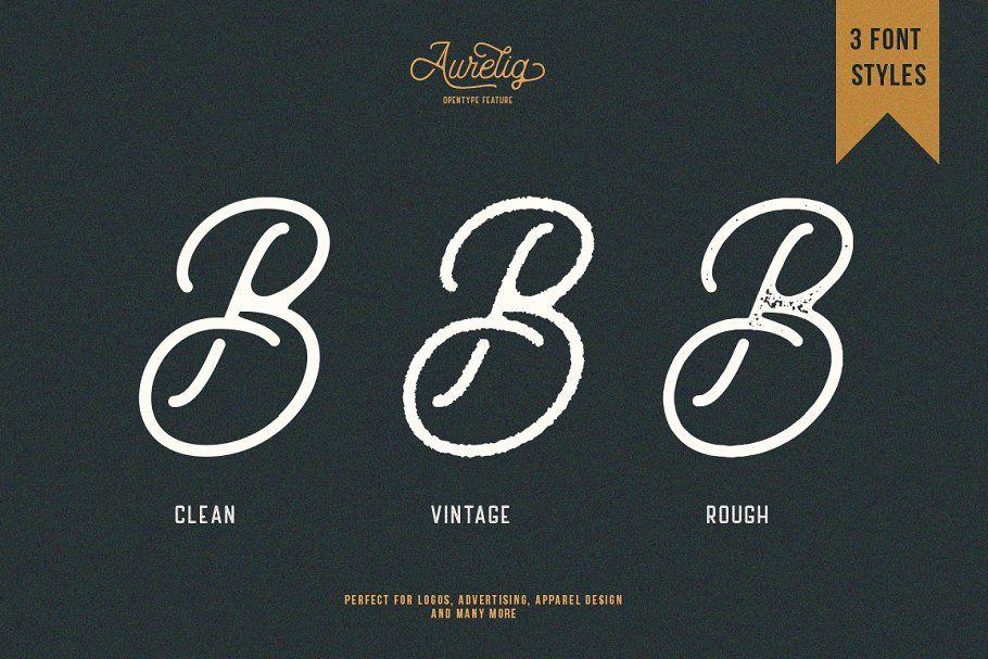 Aurelig Vintage Script 3 Fonts In 2020 Vintage Fonts Vintage Logo Design Free Script Fonts