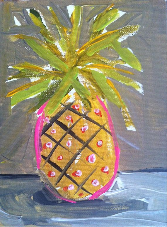 Pineapple Painting pink lime by DevinePaintings on Etsy