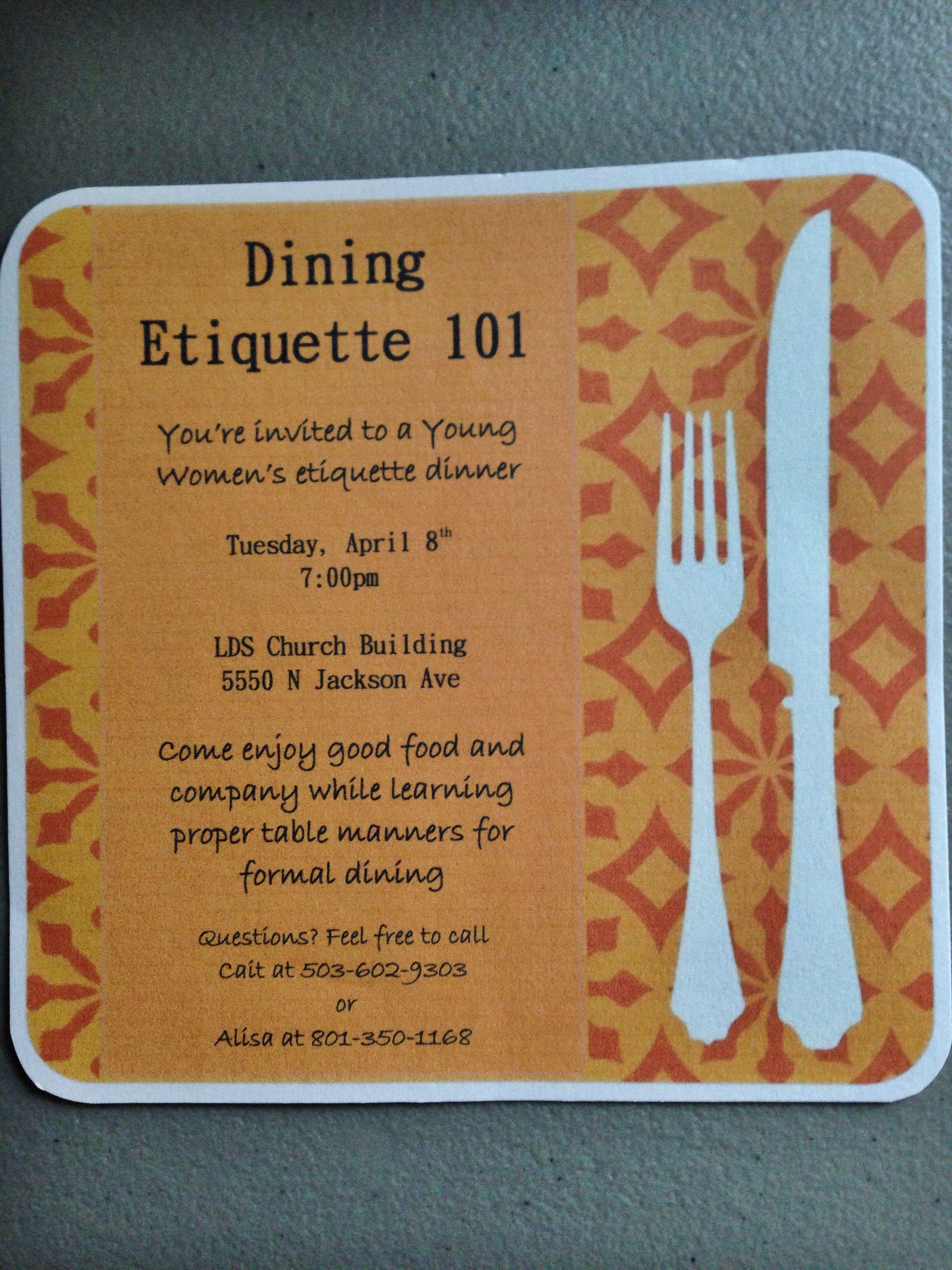 Progressive Dinner andor Etiquette Night Progressive dinner could