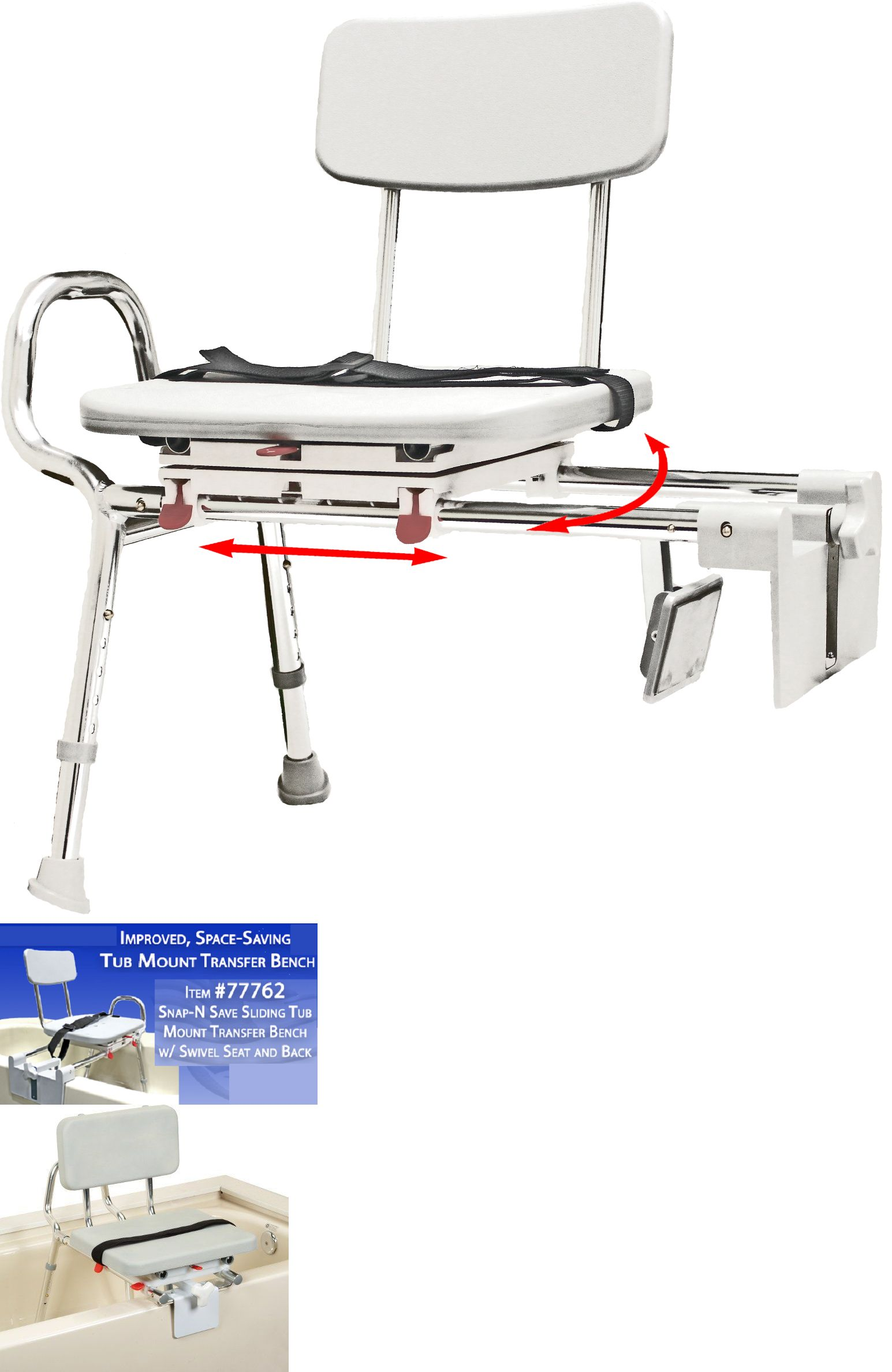 Transfer Boards and Benches: Snap-N-Save Sliding Shower Chair Tub ...