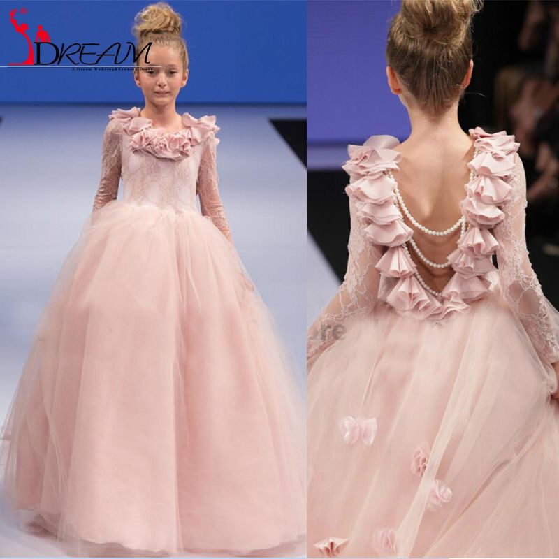 206 Pink Flower Girl Dresses Puffy Long Sleeve Lace Ruffles Tulle ...
