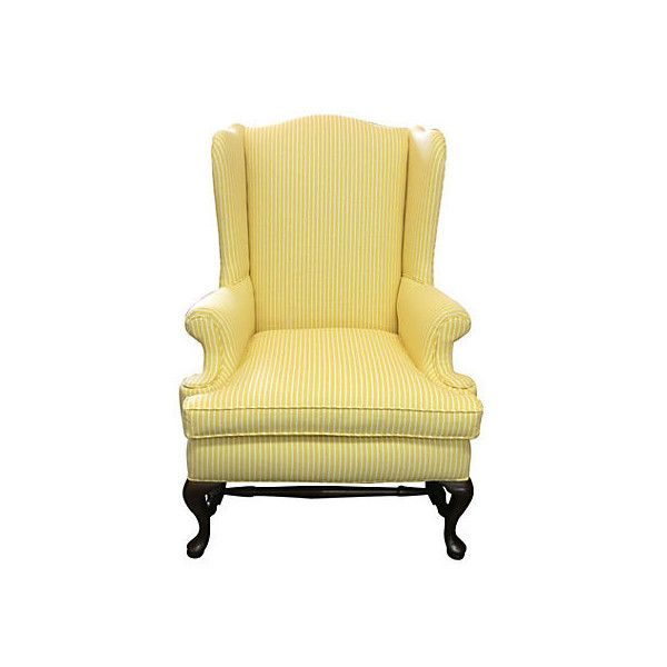 Pre Owned Yellow Striped Wing Chair W/ Pillow ($939) ❤ Liked On