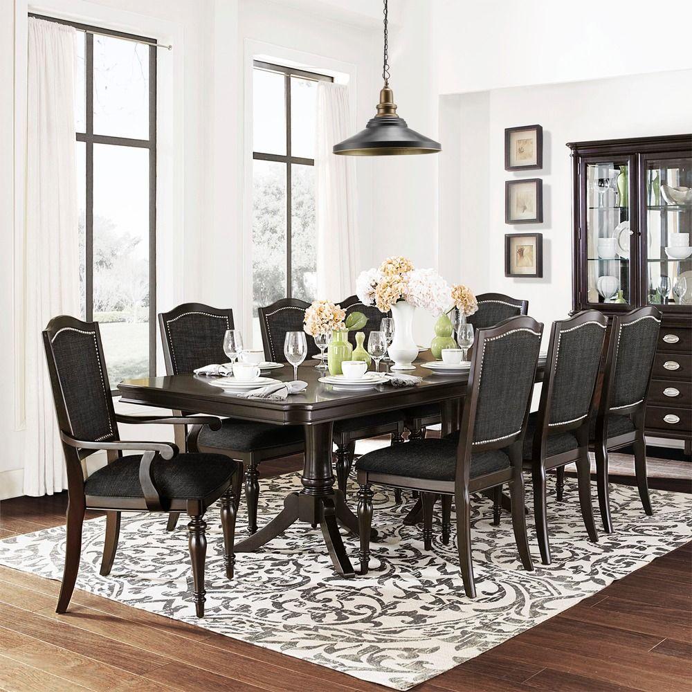 TRIBECCA HOME LaSalle Espresso 9piece Pedestal Extending Table